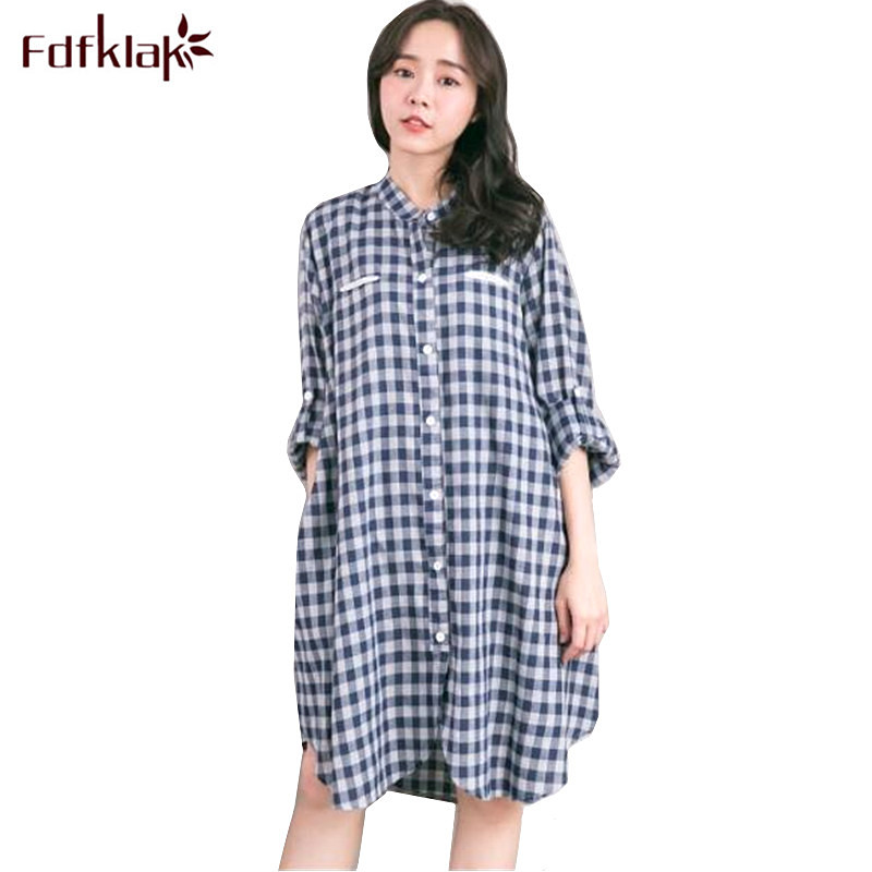 Fdfklak Women Pregnancy Dress Casual Cotton Plaid Maternity-dress Womens Loose Maternity Clothes Pregnant Mother Dresses