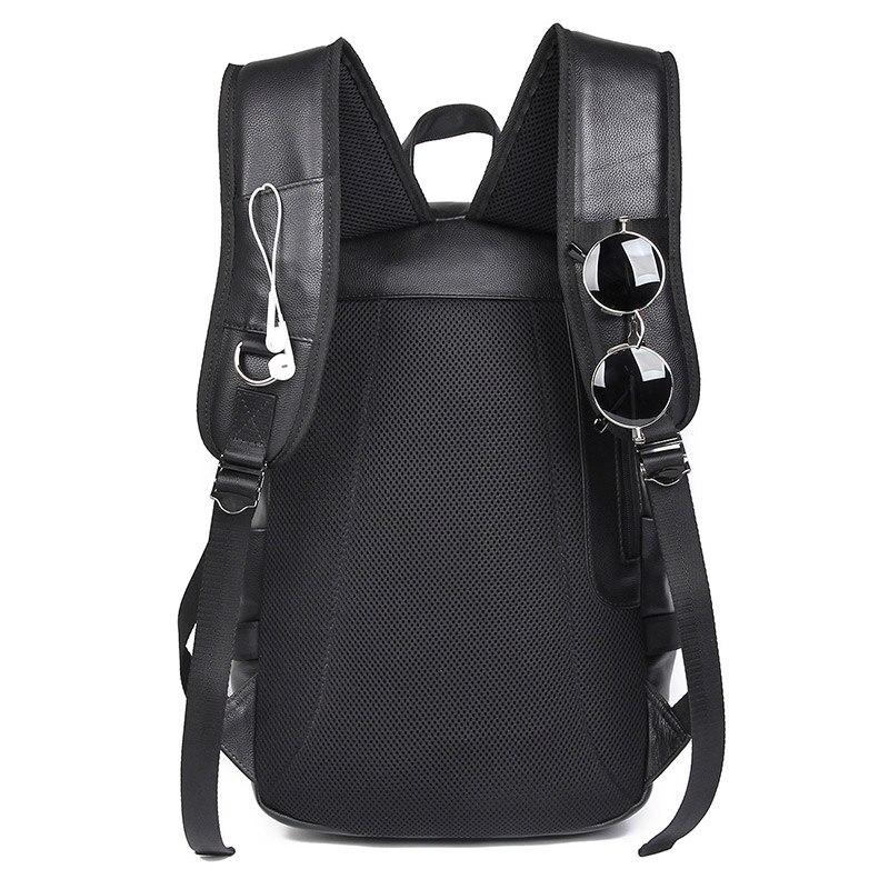 Vache sac à dos en cuir pour ordinateur portable Sac À Dos De Voyage USB Charge Mâle Mode sac D'école 2018A - 3