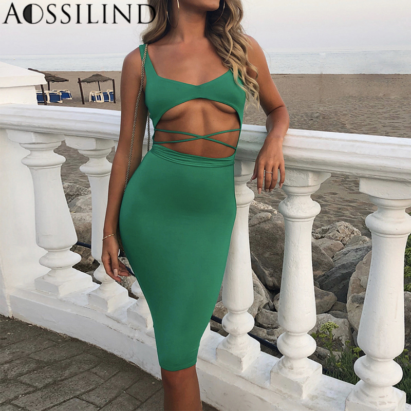 22d4fb307d AOSSILIND Sexy Hollow out Lace Up Bodycon Dress 2018 Summer Autumn Knee  Length Mid Dress Casual