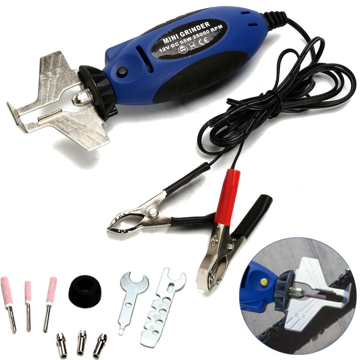 12 V Kettensäge Schleifen Maschine Spitzer Kettensäge Elektrische Mini Handheld Mühle Datei Fräsen Maschine Blau