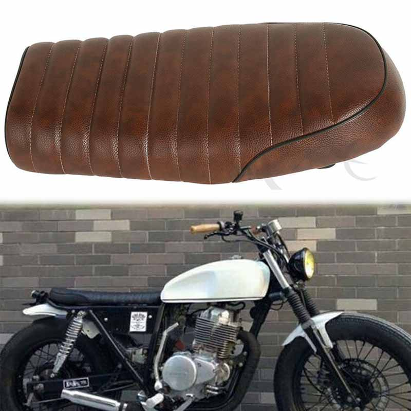 Brown Vintage Motorcycle Flat Brat Styling Seat Saddle for Honda CB CL Retro Cafe Racer Custom with Mount Metal Bracket
