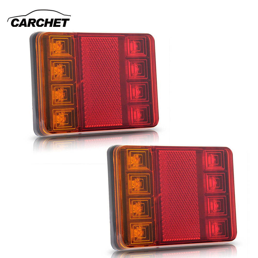 CARCHET 2PCS Waterproof 8 LED Taillights Red Yellow Rear Tail Light DC 12V for Trailer Truck Boat Car Styling Warning Light 50w 25 led red