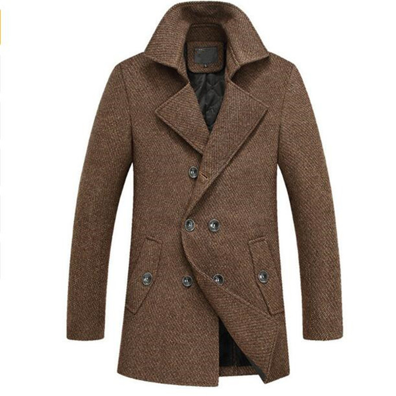 2016 Wnter Mens Fashion Leisure Mens Thick Trench Coat Woollen Overcoat Man Double Breasted Coat Jackets Mens Windbreaker