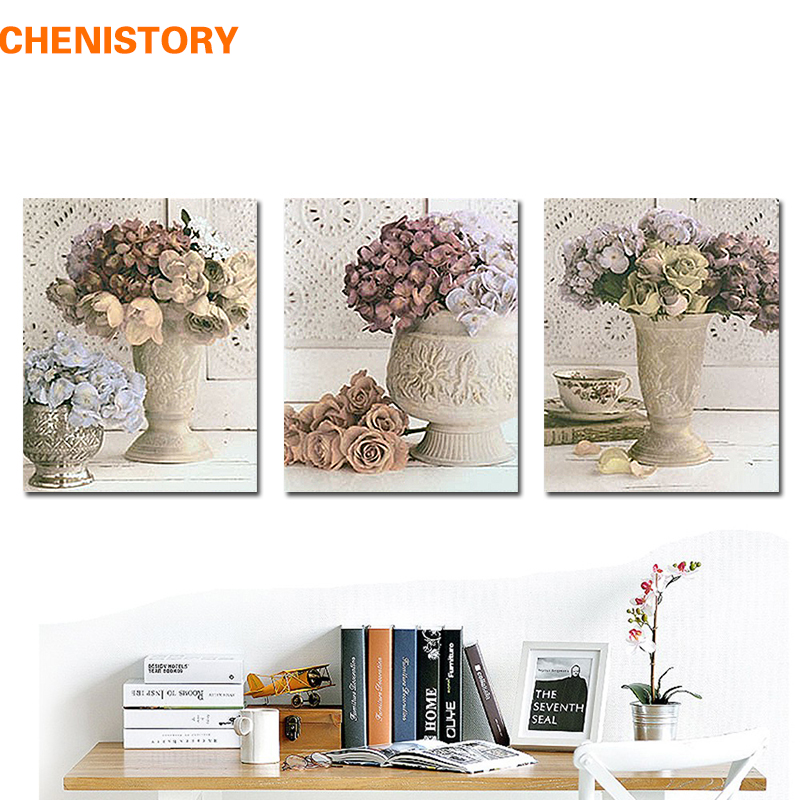 Chenistory Unframed 3pcs Europe Style Floral Retro Wall