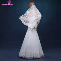 AOLANES High Quality Cheap 1.5 Meters Short Wedding Veils White/Ivory Lace Bridal Veils With Comb Wedding Accessories 2018