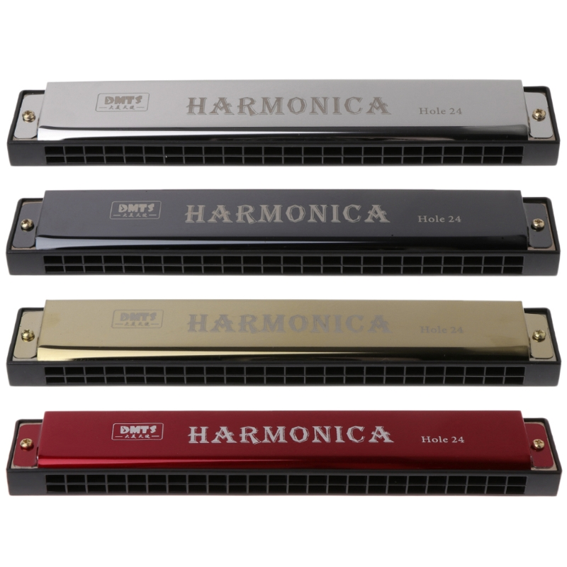 24-Hole Harmonica Professional Woodwind-Instrument Beginners For 4-Color C-Key Metal