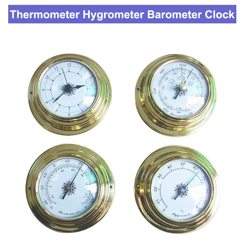 THBC9193 Thermometer Hygrometer Barometer Clock Four Whole Set Pressure Gauge Air Weather Instrument Barometer Weather Station