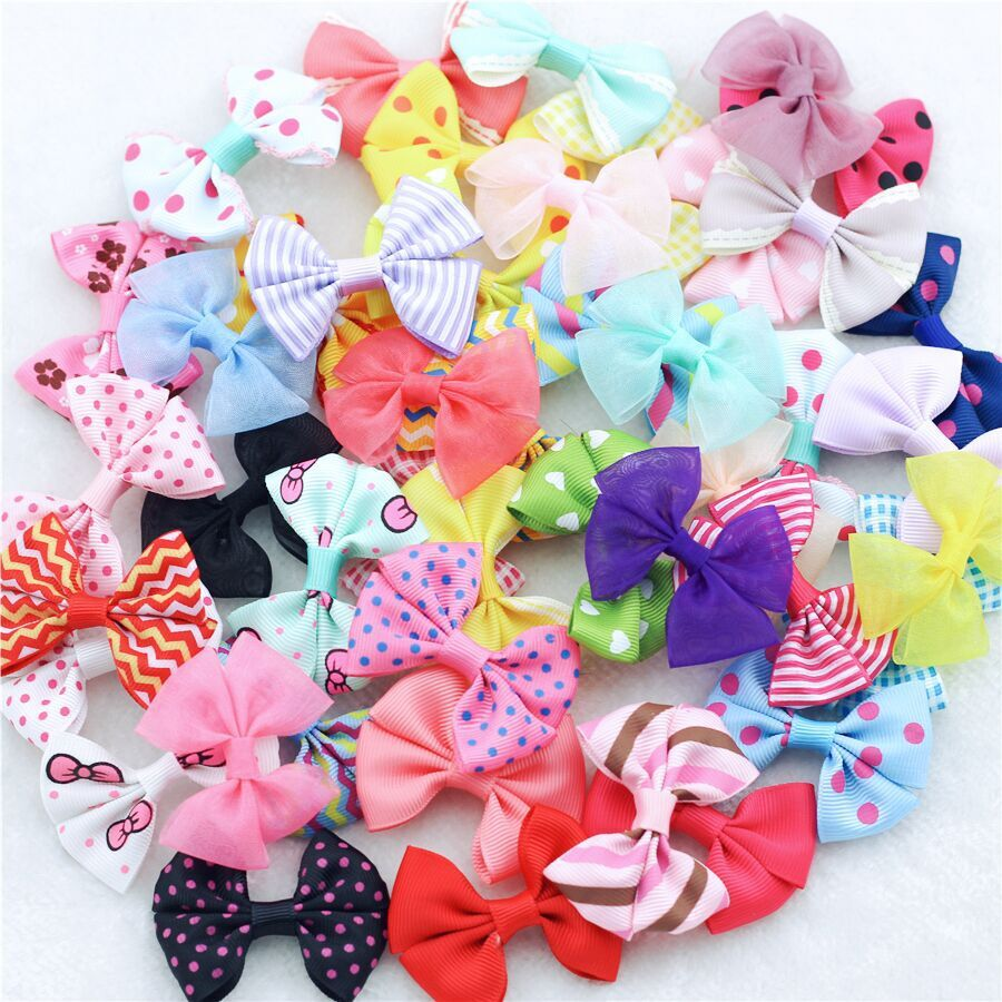10Pcs/lot 2little girls Ribbon bows Candy Color Dot Print Snow yarn Multi Styles Bow Hairpin Hair Clips kids hair accessories 10 pcs lot mixcolor candy color mini small hair claw girls hair clips kids flower hair accessories