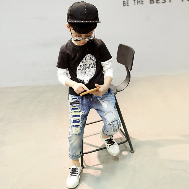 Children's clothing 2018 autumn boys hole jeans boy pencil pants spring kids casual outdoor leggings baby kids denim trousers Boys Jeans