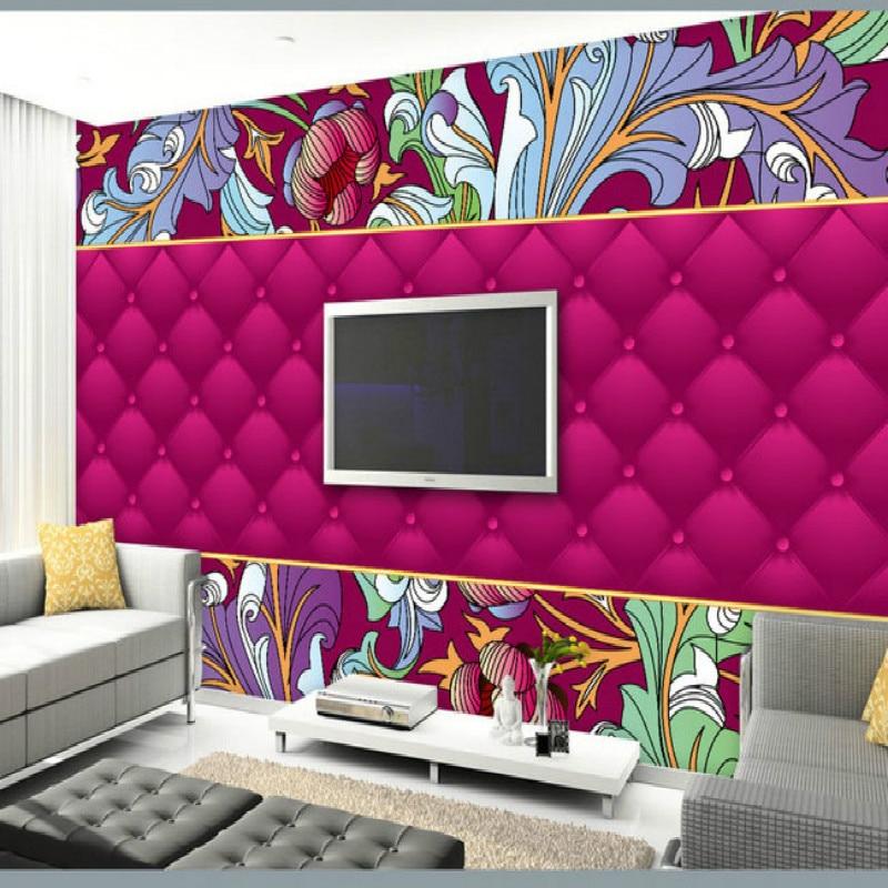 High end hand painted pattern bag large mural wallpaper bedroom ...