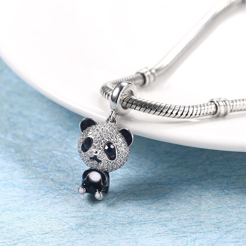 Crystal Panda Charms Fit Pandora bracelets Silver 925 Original Silver Beads Jewelry Making Authentic Bead Animal Christmas Gift
