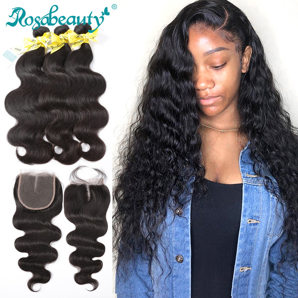 Rosabeauty 8- 28 30 Inch Body Wave Human Hair Weave Brazilian Remy Hair Extension 3 4 Bundles With Lace Closure Natural Color