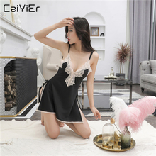 Caiyier Lace Women Nightwear 2019 New Summer Sexy Silk Satin Nightgown Deep V-Neck Lingerie Sleepwear Ladies Mini Night Dress