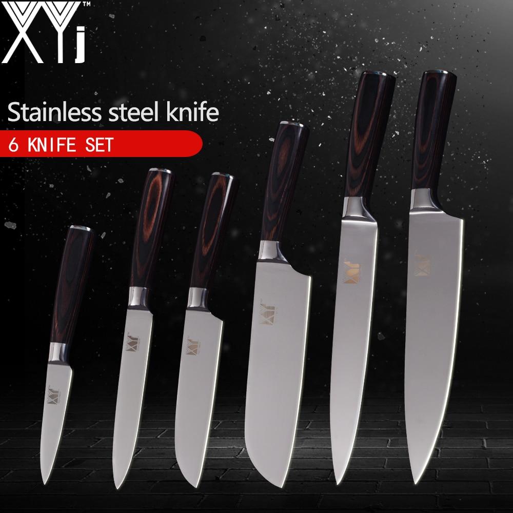 XYj Well balanced Kitchen Knives 3 5 5 5 7 8 8 inch 6pcs Set Kitchen