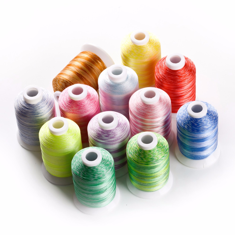 12 popular warna variegated benang poliester sulaman mesin 1000m / mini-king spools