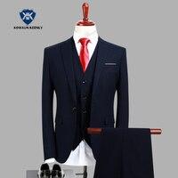 (سترة + سترة + بنطلون) 2018 جودة عالية الرجال الدعاوى الأزياء البحرية الأزرق الرجال يتأهل الأعمال عرس الرجال الدعاوى الرسمية سهرة