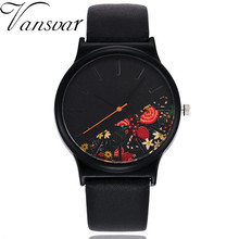 Vansvar Vintage Leather Women Watches Luxury Top Brand Floral Pattern Casual Quartz Watch Women Clock Relogio Feminino
