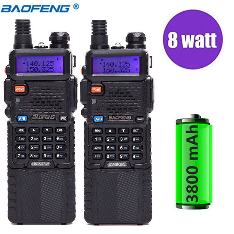 2 pz Baofeng UV-5R 8 w Walkie Talkie Professionale CB Radio Stazione di UV5R HF Ricetrasmettitore VHF UHF Portatile UV 5R caccia Ham Radio