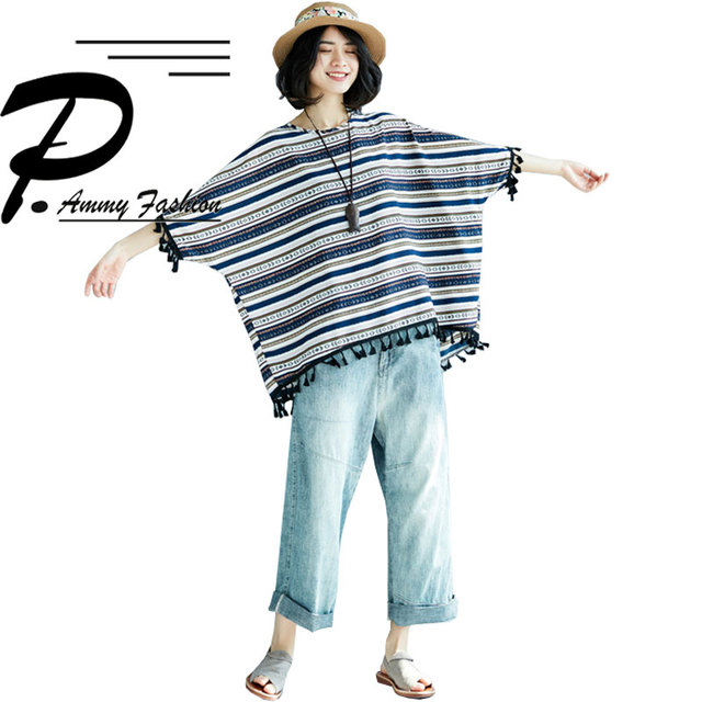 2018 Batwing Sleeve Tassel Cotton & Linen Striped T-Shirts Summer Plus Size Casual Loose Tops Womens Lagenlook Baggy T-Shirt Tee