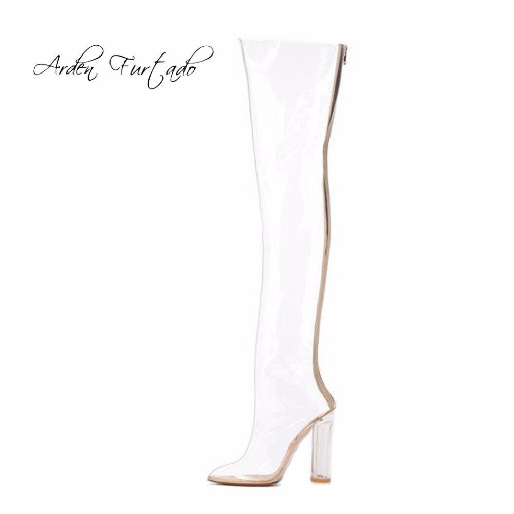 2017 di estate di modo di autunno pvc trasparente rainboots cristallo punta a punta tacchi alti sopra il ginocchio stivali scarpe trasparenti per la donna-in Stivaletti da Scarpe su  Gruppo 1