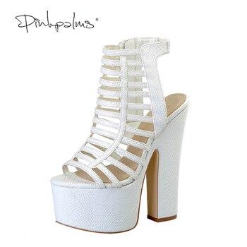 Pink Palms Summer Shoes Women High Heels Female Square Heel Wedge Sandals Snake Print Shoes Platform Sandals Drop Shipping