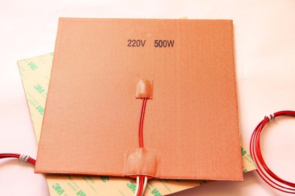Coussin chauffant en Silicone 200x200mm 20X20 cm 110 V/220 V 500 W pour imprimante 3D Cube Prusa i3 RepRap