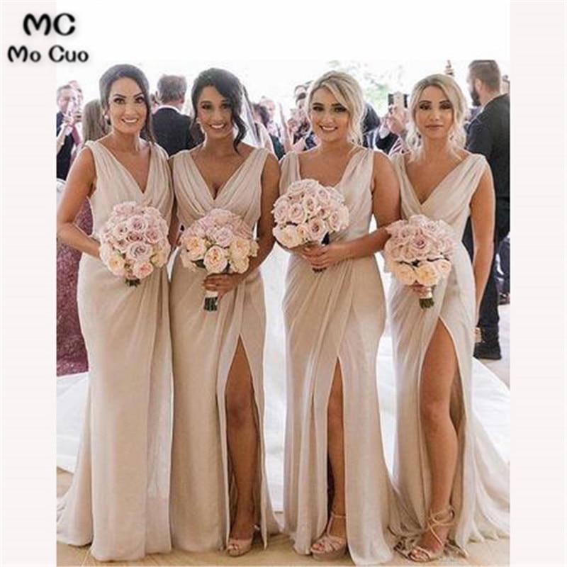 2018 Mermaid Bridesmaid Dress Long Pleat Chiffon V-Neck Tank Front Slit Wedding Party Dress Custom Made Women Bridesmaid Dresses