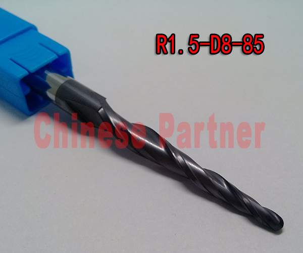 1pc R1.5*D8*45*85-HRC55 Tungsten solid carbide lengthen Tapered Ball Nose End Mills taper and cone milling cutter ferramentas hrc55 r0 2 r0 5 r0 75 r1 0 r0 72 taper ball end carbide tungsten solid steel milling cutter alloy taper endmill