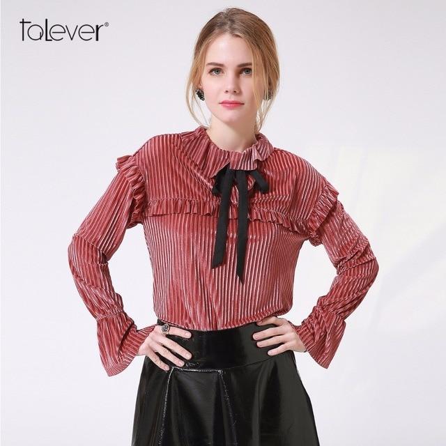 2db959acfd714 Talever Cute Women Velvet Blouse Bow Ribbon Women Tops Shirt Blouse Female  Pink Ruffles Long Sleeve