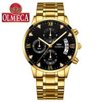 Top Luxury Brand OLMECA Mens Watches Men Gold Watch Men Relogio Masculino Military Army Analog Quartz Wristwatch Montre Homme