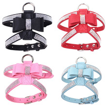 Bling Rhinestone Bow Knot Leather Dog Leash Collar Pet Puppy Lead Harness Walking Chest Strap #D3