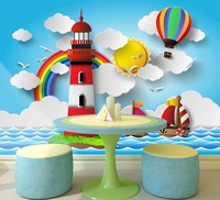 [Self-Adhesive] 3D Sea Rainbow Lighthouse Hot Air Balloon Boat 7 Wall Paper mural Wall Print Decal Wall Murals