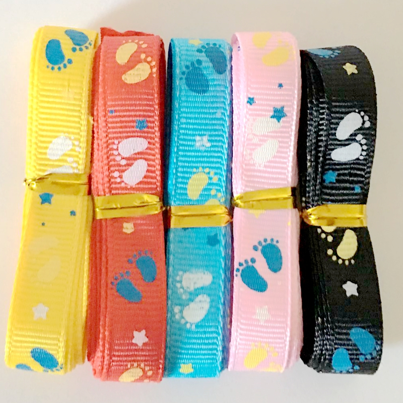 Big Sale 5Yds 9mm Summer Baby Feet Star Printed Grosgrain Ribbon Tape DIY Hairbow Crafts Party Tree Decos Gift Packaging