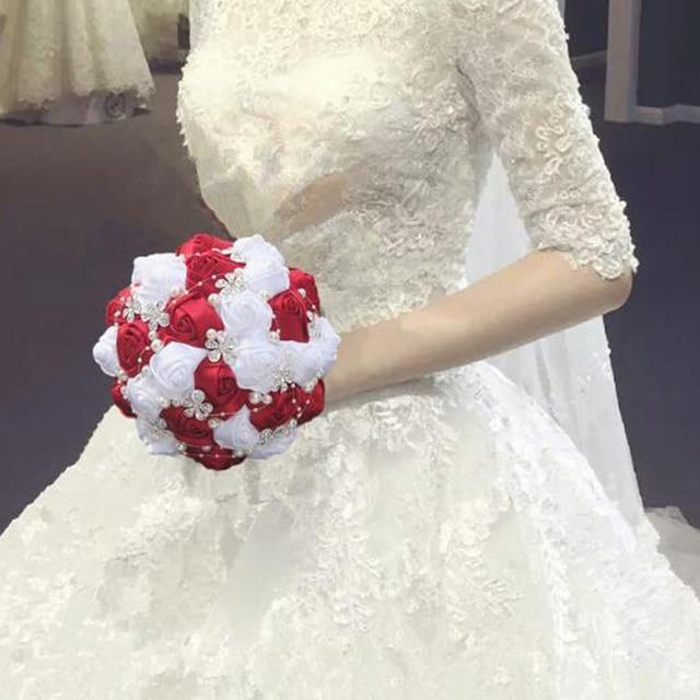Wedding bouquets flowers artificial flower rose bouquet white bridal ...