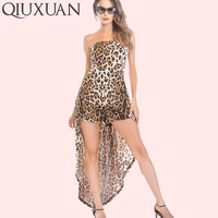 QIUXUAN Leopard Skinny Playsuits Summer Sleeveless Strapless Women Rompers Fashion Bandeau Jumpsuits with Maxi Skirts Layer