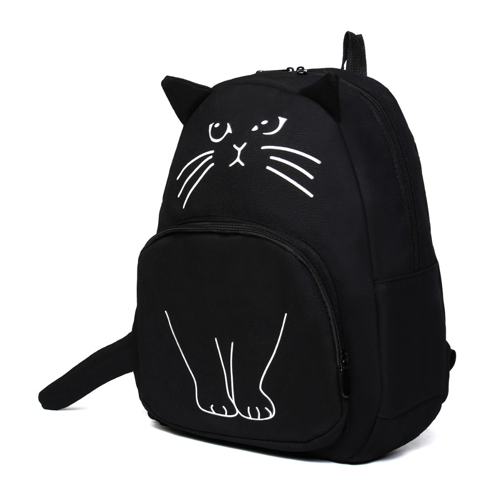 2017 new Lovely Cat Printing Backpack Women Canvas Backpack School Bags For Teenagers La ...