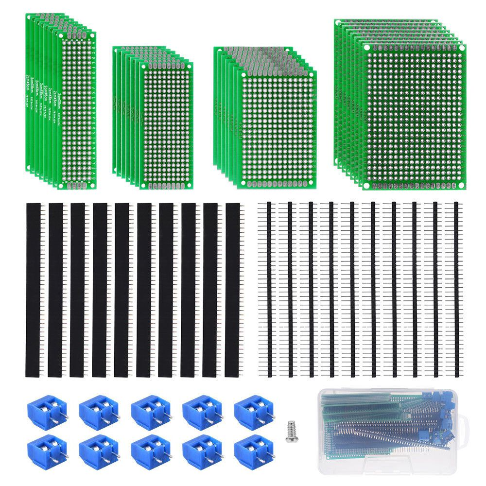 WSFS Hot 60pcs Double Sided prototype PCB universal board Head Connector Terminal Blocks Assortment Kit TE949 Circuit Board prototype universal printed circuit board breadboards 5 pack
