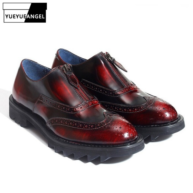 100% Echt Leder Retro Britischen Brogue Schuhe Männer Lässige Erhöhung Leder Schuhe Luxus Marke Business Büro Formale Schuhe Männlichen