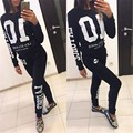 New Spring Winter 10 Printed Two Pieces Set Women Tracksuit Hoodies Street Wear Letter Print Tracksuits O-Neck Sportwear Set XL
