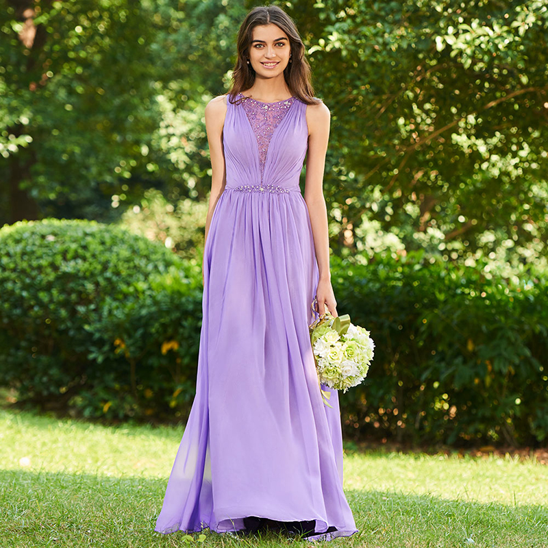 Tanpell beaded bridesmaid dress dark lilac sleeveless floor length a line gown women wedding back button long bridesmaid dresses ...