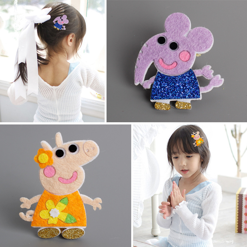 2pcs Korea Handmade Pig Rabbit Elephant Animal Hair Accessories Hair Clip Flower Crown Hairpin Headbands for Girls 4