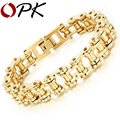 OPK Sporty Bicycle Motorcycle Man Bracelets Casual Silver /Gold Plated Stainless Steel Men's Link Chain Bracelet Jewelry GS781