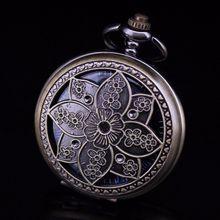 Bronze Tone Skeleton Steampunk Hollow Flower Case Blue Roman Number Dial Hand Wind Mechanical Pocket Watch Relogio De Bolso