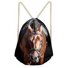 ELVISWORDS 3D Printing Horse Husky Vintage Backpack Woven Animal Drawstring Bags Lady Female Men Travel Head Rucksack