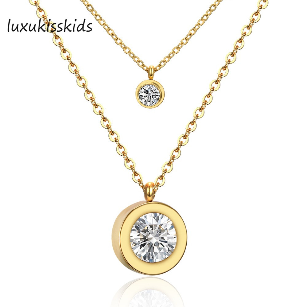 2016 Fashion 316L Stainless Steel  Women Fashion Jewelry CZ Diamond Double Pendants Necklace,Gold Plated ,Gold/Silver Color