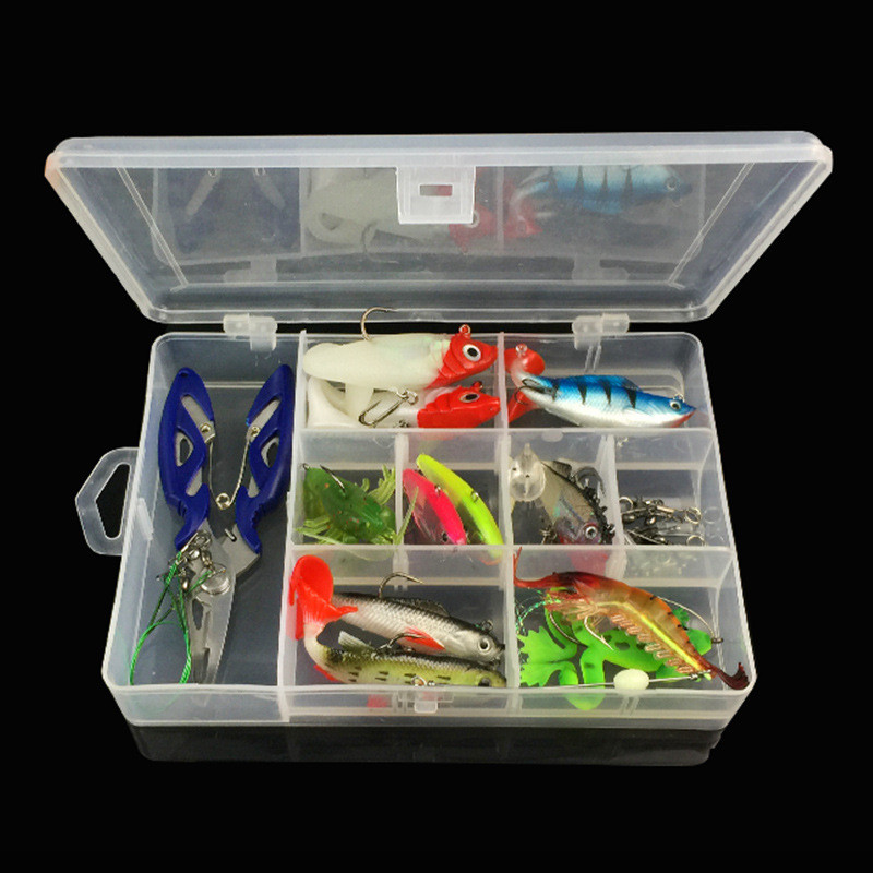33pcs/Set Lead Head Soft Fishing Lure Frog Shrimp Jig Lures Fishing Accessories Tools Tackle Box+Pliers /Wire /Connector /Rings fishing lure kit single tail lead fish soft bait vib 33 pieces lures accessories pliers