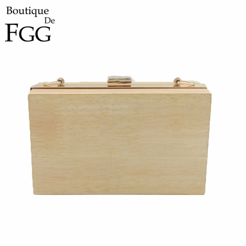 Boutique De FGG Natural Wood Women Evening Bags Box Clutch Gold Wooden Mianduere Handbag Purse Party Dinner Prom Metal Clutches bobo bird brand new sun glasses men square wood oversized zebra wood sunglasses women with wooden box oculos 2017