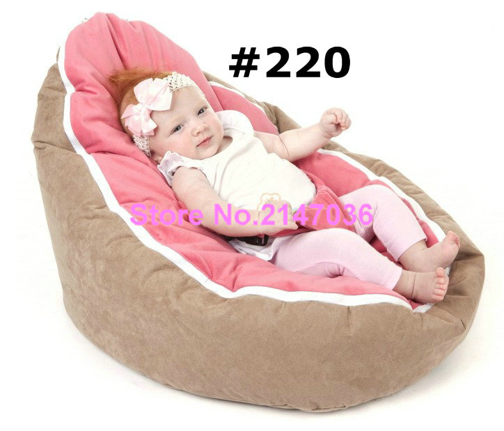 Comfortable Zipper Baby Bean Bag Soft Sleeping Bag Portable Seat Without Filling – brown / pink