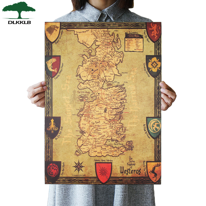 DLKKLB Game of Thrones Westeros Map Retro Kraft Paper Poster Interior Bar Cafe Decorative Painting Wall Sticker 42X36cm Стёганое полотно