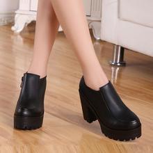 Осень 2017 новой Европы и глубоко толщиной толстой подошве туфли на платформе кожаные ботинки с небольшой максимум 33 каблуки